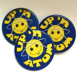 3 Vintage Pinback Button - Up 'N Atom - Science