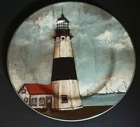 """David Carter Brown By the Sea White & Black lighthouse 8 1/4"""" Salad Plate"""