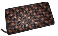 NEW ITALIA LEATHER WOMEN'S WOVEN ZIP AROUND CLUTCH WALLET BROWN MULTI