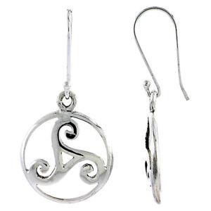 Sterling Silver Celtic Triskele Dangle Earrings