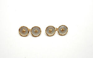 Antique Gold Cufflinks Mother of Pearl 18 carat yellow gold
