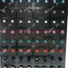 72pcs stainless steel multicolor Rhinestone Stud Earrings wholesale jewelry lots