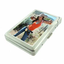 Texas Pin Up Girls D5 Cigarette Case with Built in Lighter Metal Wallet