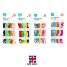 12 x 7m Cotton Skeins COLOURED EMBROIDERY THREAD Cross Braiding Craft Sewing UK