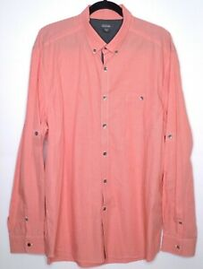 KENNETH COLE Reaction Mens Red Micro Check Shirt Convertable Sleeve EUC Size XXL