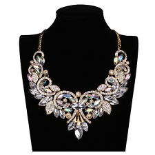 Shiny Rainbow Crystal Flower Choker Big Statement Necklace Collar Chain Elegant