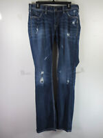 Silver Jeans womens dark distressed Suki flap stretch boot jeans 31x34 EUC