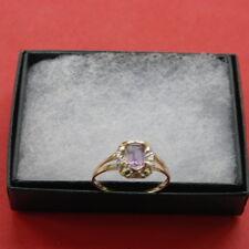 FINE 9CT YELLOW GOLD OCTAGON AMETHYST & DIAMOND RING O