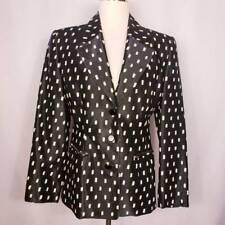 Gianfranco Ferre Womens Blazer Black Geometric Button Notch Lapel Long Sleeve 46
