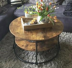 Round Industrial Coffee Table Rustic Metal Furniture Vintage Side Storage Shelf