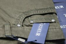 New Designer Jeans Gardeur 38 X 30.25 Olive Green Cashmere 99% Cotton Stretch