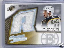 2005-2006 SPx Hockey Andrew Alberts Boston Bruins Rookie Jersey Card #1166/1999