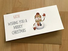 Personalised vintage/Retro Christmas Money/Gift Voucher Wallet Snowman