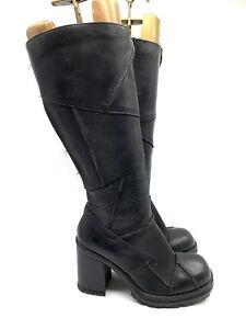 MSG Chunky Platform Black Leather Knee High Calf Heel Boots Biker Rock Uk 5 38