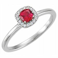 Chatham Lab-Created Ruby & .04 CTW Diamond Halo-Style Ring In Platinum