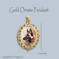 BELGIAN MALINOIS DOG - ORNATE GOLD PENDANT NECKLACE