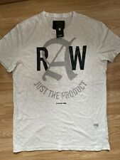 G Star New Mens Medium Off White Relaxed Fit T Shirt RRP £25