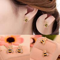 NEW Lovely Jewelry Enamel Rhinestone Bumble Bee Crystal Earrings Animal Ear Stud