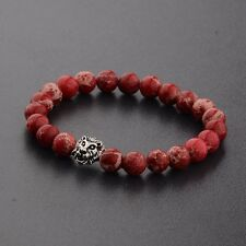 Fashion Men's Red Lava Stone Silver Lion Beaded Charm Bracelet Cheapest Gifts