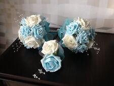 TWO WEDDING/BRIDAL/FLOWER GIRL IVORY/LIGHT BLUE FOAM ROSE POSY BOUQUETS/CORSAGE