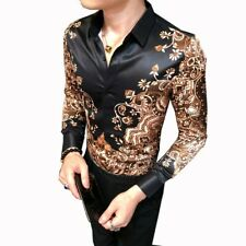 Mens Nightclub Dress Slim Fit Casual T-shirts Floral Printed Long Sleeve Tops SZ