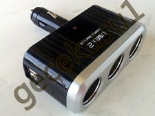 Auto Adapter 2 x USB Zigarettenanzünder 3-fach LED 12V KFZ LKW Verteiler Stecker