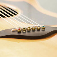 Bridge Pins for Acoustic Classical Guitar Brass with Colourful Crystal