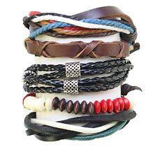 Set Of 5 Bead / Cord & Leather Surf Surfer Style Bracelets Wristbands Adjustable