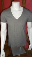 Small Black & Grey Thin Stripe V Neck Short Sleeve T Shirt in  Cotton by drykorn