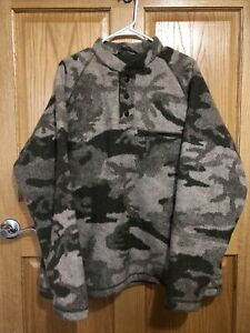 Cabelas Wooltimate Wool Outfitter Camo Pullover with Windshear Large L Hunt