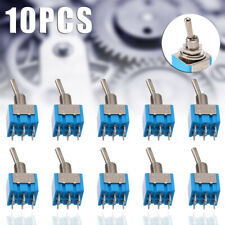 10pcs MTS-202 6-Pin DPDT ON-ON 6A 125V AC Mini Blue Toggle Switch 2 Position Set