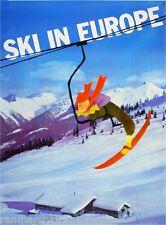 Snow Ski In Europe European Vintage Travel Advertisement Art Poster