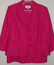Women's 14P Le Suit Dark Pink Skirt Jacket Suit Set
