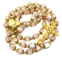 Catholic Pink Crystal Beads Gold Rosary Necklace Holy Mary Locket Medal & Cross
