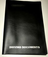 A5 BLACK LEATHER LOOK CAR DOCUMENT HOLDER + CARD POCKET - printed in SILVER
