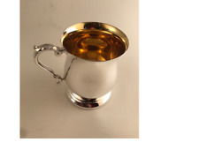 More details for georgian style one pint tankard silver plated  (epns a1) with a gilded bowl