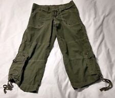 Ladies Lucy Olive Green Cinch Drawstring Bottom Capris Size S