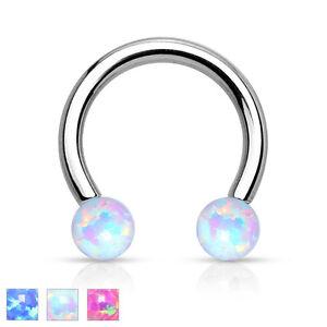 Horseshoe Septum Lip Piercing Tragus Ear Helix Intimate Ring Opal Imitation