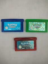 3 x POKEMON Game Boy Advance Games inc. LEAF GREEN, RUBY, SAPPHIRE