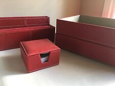 4 Piece Red Desk Organiser Set Post it/Filing Trays~ Home Office ~ Faux Leather