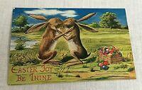 H Horina Postcard Easter Joy Be Thine Rabbits Bunnies Vintage Greetings