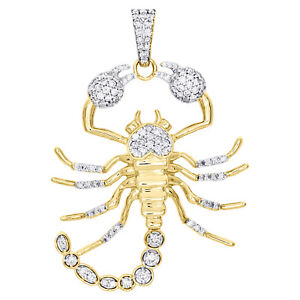 "10K Yellow Gold Round Diamond Statement Scorpion Pendant 2.20"" Charm 1.75 CT."