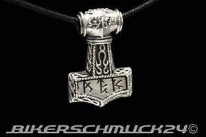 Thors Hammer Schmuck Anhänger mit Runen 925 Silber Wikingerschmuck Mjölnir Biker