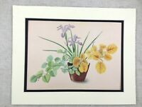 1956 Vintage Giapponese Stampa Shinsha Barattolo Iris Fiori Ikebana Composizione