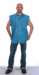 Men's Motorcycle Denim Light Blue Sleeveless Shirt with Buttoned Front Closure