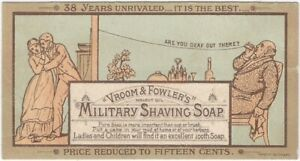 Vroom & Fowler Military Shaving Soap Telephone-Theme Trade Card -Prang 1877