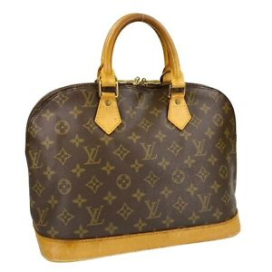 Louis Vuitton Monogram Alma Leather Fabric Brown Handbag Authentic