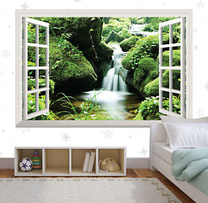 Green Croatia Waterfall 3D Window Wall Sticker Art Vinyl Decal Decor Mural