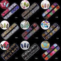Nail Art Rhinestones Crystals Gems Beads Charms Pearl Glitter 3D Sequins Foil