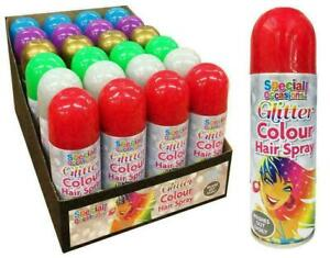 6x Glitter Party Success Temporary Wash Out Hair Colour Spray Party Halloween
